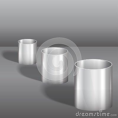Three steel glasses