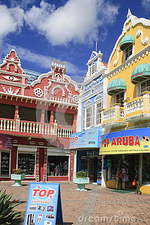 Three Stores in Oranjestad, Aruba Editorial Photo