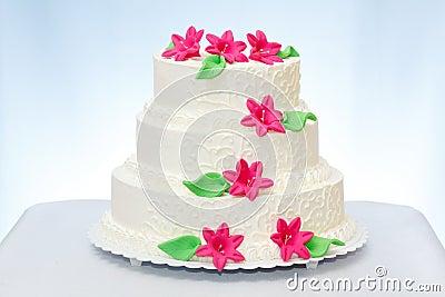 Three-storied wedding cake
