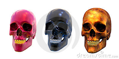 Three Strange Skulls - with clipping path
