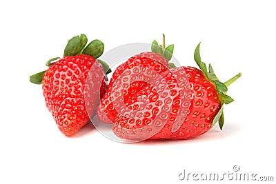 Three strawberry isolated