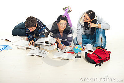 Three students learning home