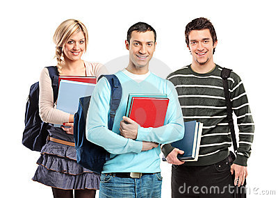Three students posing with books