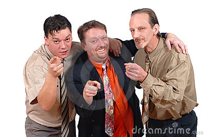 Three successful men pointing