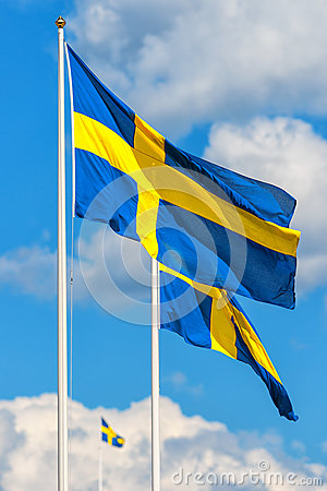 Three Swedish flags