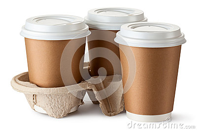 Three take-out coffee. Two cups in holder.
