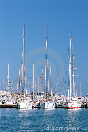 Free Three Tall Sailing Ships Moored In Sunny Spanish Port Or Harbour Stock Photos - 1893793