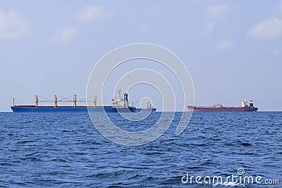 Three tankers in black sea