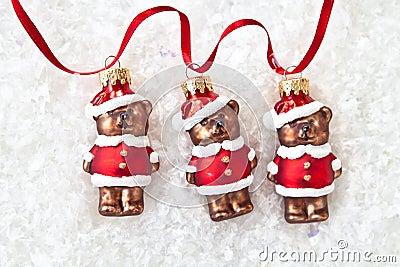 Three teddybear ornaments