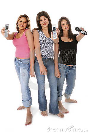 Free Three Teen Girls With Cellphones Over White Royalty Free Stock Photo - 152625