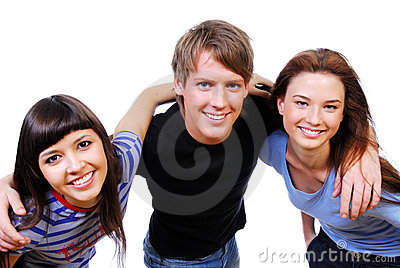 Three teenagers holding heads