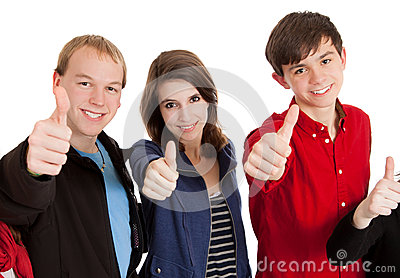 Three teenagers with their thumbs up