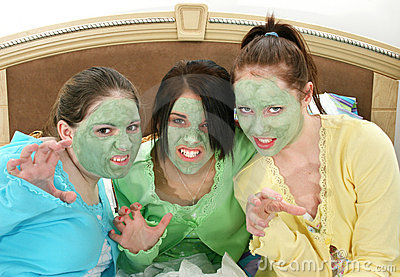Three Teens In Facial Mask Growling