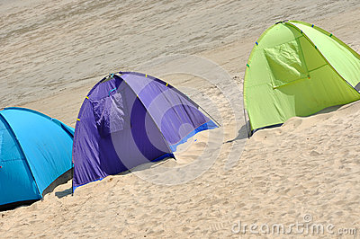 Three tent on sand