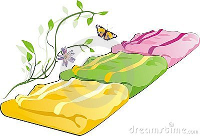 Three towels, sprig and butterfly