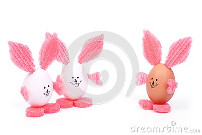 Three toy Easter rabbit made of egg shell