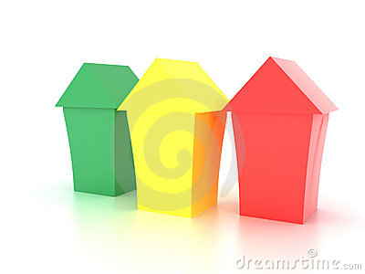 Three toy house made ​​of green red plastic
