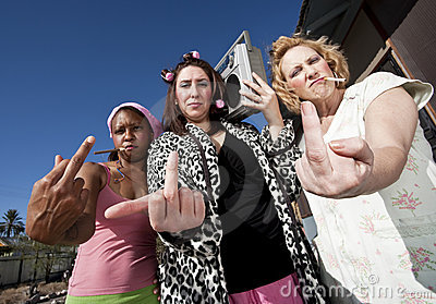 Three Trashy Women making a Rude Gesture