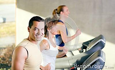 Three on the treadmill