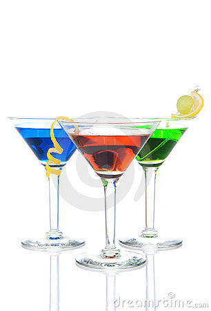 Free Three Tropical Martini Cocktails Drink Royalty Free Stock Image - 18250026