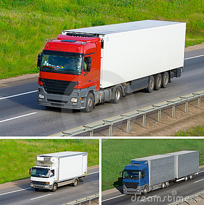 The three truck on a road