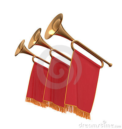 Free Three Trumpets With A Red  Banners Flags Pennants. Stock Photos - 21515403