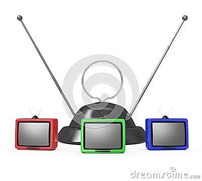 Three TVs and an antenna