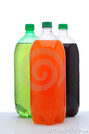 Free Three Two Liter Soda Bottles On Wet Counter Stock Image - 23536821