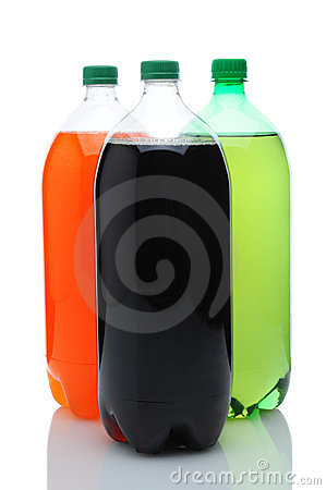 Three Two Liter Soda Bottles Over White