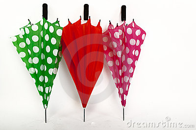 Three Umbrellas on a White Isolated Background