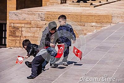 Three unidentified boys at the Anıtkabir in Ankara, Turkey Editorial Stock Photo