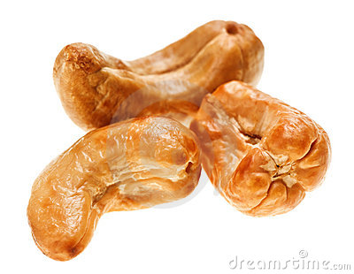 Three unshelled roasted cashew nuts