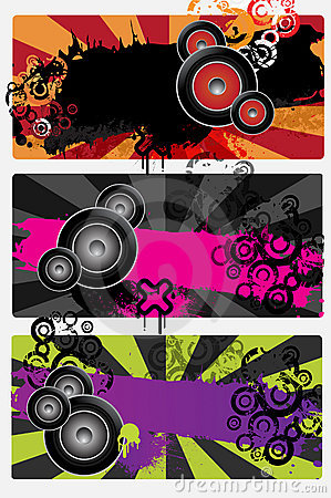 Free Three Urban Grungy Music Banners Stock Photography - 21817492