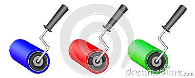 Three varicoloured rollers