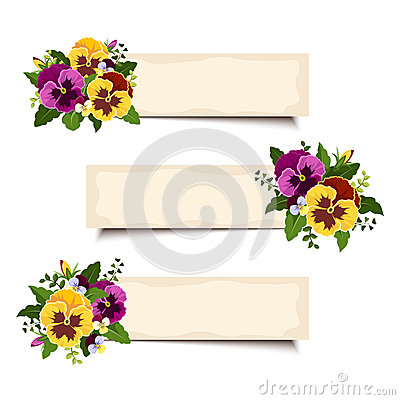 Free Three Vector Banners With Pansy Flowers. Eps-10. Royalty Free Stock Photography - 42668027