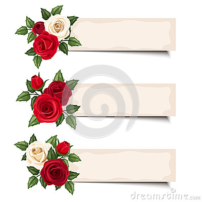 Free Three Vector Banners With Red And White Roses. Royalty Free Stock Photography - 41698777