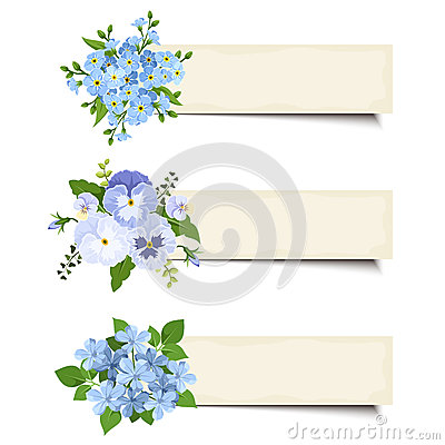 Free Three Vector Banners With Various Blue Flowers. Eps-10. Stock Photography - 55850182