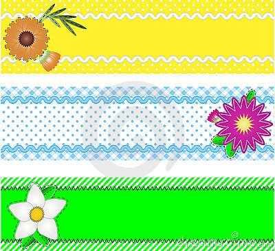 Three Vector Borders With Flowers and Copy Space