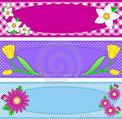 Three Vector Oval Borders With Flowers and Copy Sp