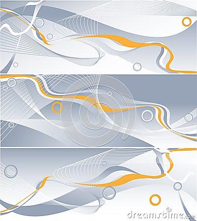 Three vector wavy backdrops