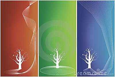 Three versions of floral tree backgrounds with but