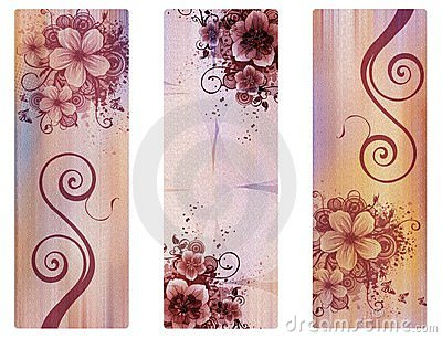 Three vertical banners