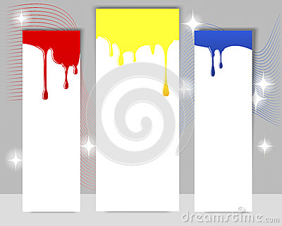 Three vertical banners with dripping paint.
