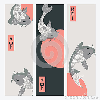 Free Three Vertical Banners With Carp Koi Fish Swimming Around Sun Royalty Free Stock Photography - 84492517
