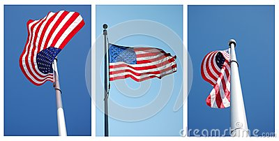 Three views of American flag