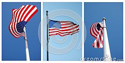 Three views of American flag
