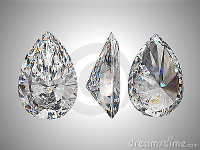 Three views of pear diamond