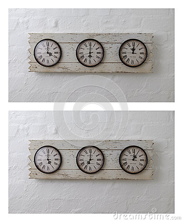Free Three Wall Travel Clocks In Different Time Zones Royalty Free Stock Photography - 68607467
