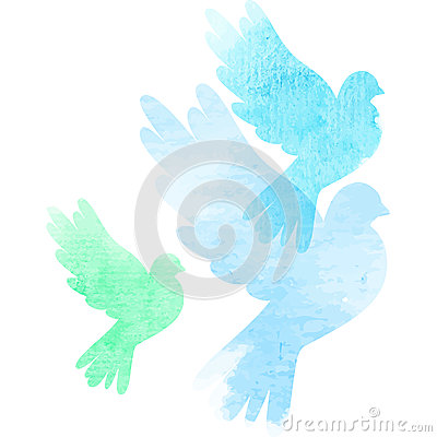 Free Three Watercolor Doves Stock Photography - 44257212