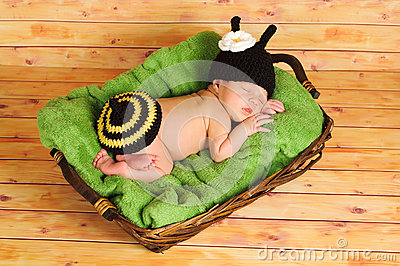 Three week old baby girl wearing bumblebee costume